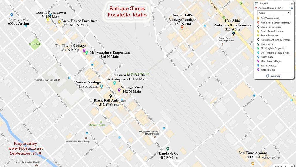 Pocatello.net Antique Shops Map